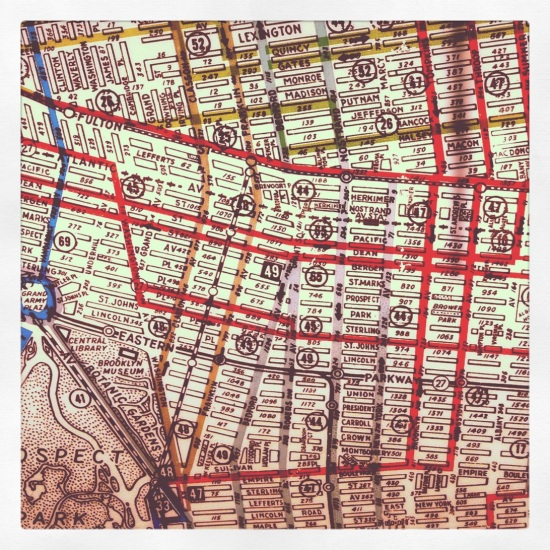 an iphone 4, instagram photo of a vintage map of bus routes, brooklyn ny taken at the transit museum