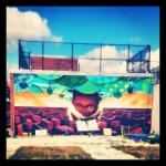 iphoneography, photo of mural in a community garden, clinton hill, brooklyn, ny