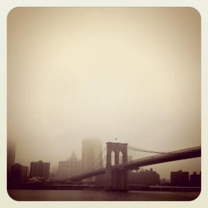 brooklyn bridge in fog, brooklyn, new york, ny