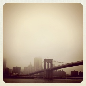 brooklyn bridge in fog, brooklyn, new york, ny