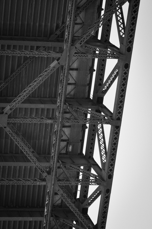 detail underneath the golden gate bridge, black and white photograph
