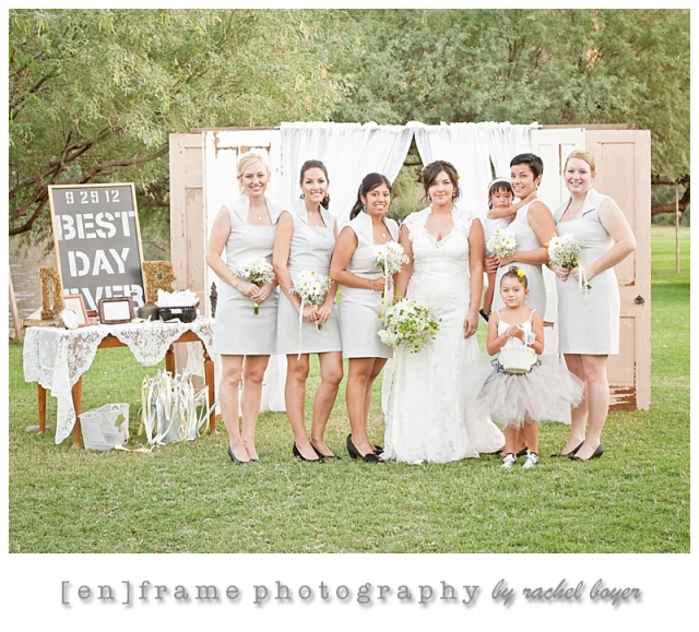 bridesmaids wedding photo; bridal party