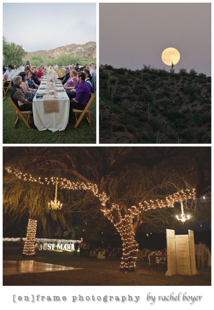 rustic wedding details and full moon over a saguaro studded mountain