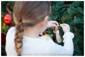 hanging a christmas ornament