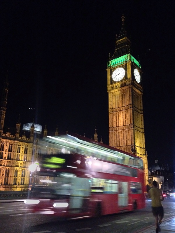 London iphoneography; London at night, Big Ben, Double Decker Bus