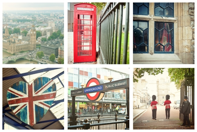 Iconic Images of London; Double Decker Bus, Red Phone Booth, Union Jack, Royal Palace Guards