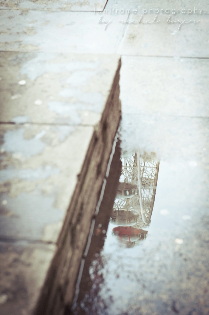 London Travel Photography, Fine Art Photograph, London Eye Reflection in Rain Puddle