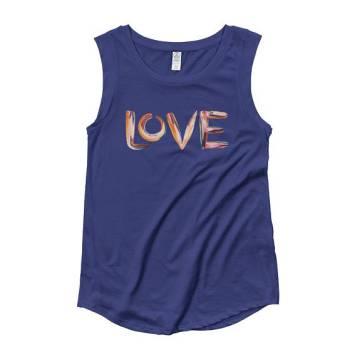 LOVE Hand Painted, Paint Pallette Cap Sleeve T-Shirt indigo 2