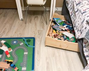 train table drawer under bed | train theme kids room