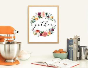 printable home decor floral wreath