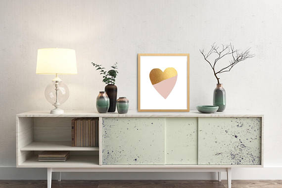 Printable Home Decor, Heart Art millennial pink and gold heart, nursery decor