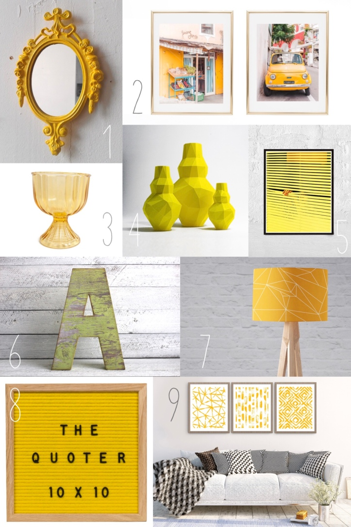 Yellow Home Decor | Trend Watch | Etsy Round Up