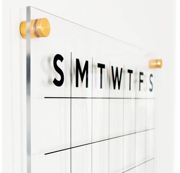 Acrylic Dry Erase Calendar, Clear Acrylic Monthly Wall Mounted Calendar