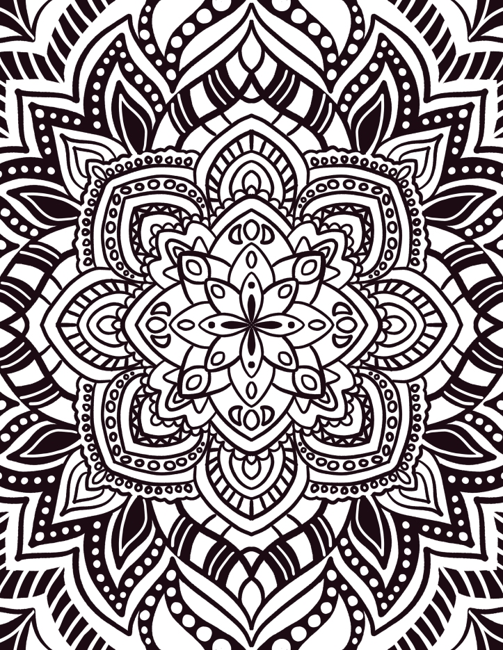 hand drawn mandala coloring page