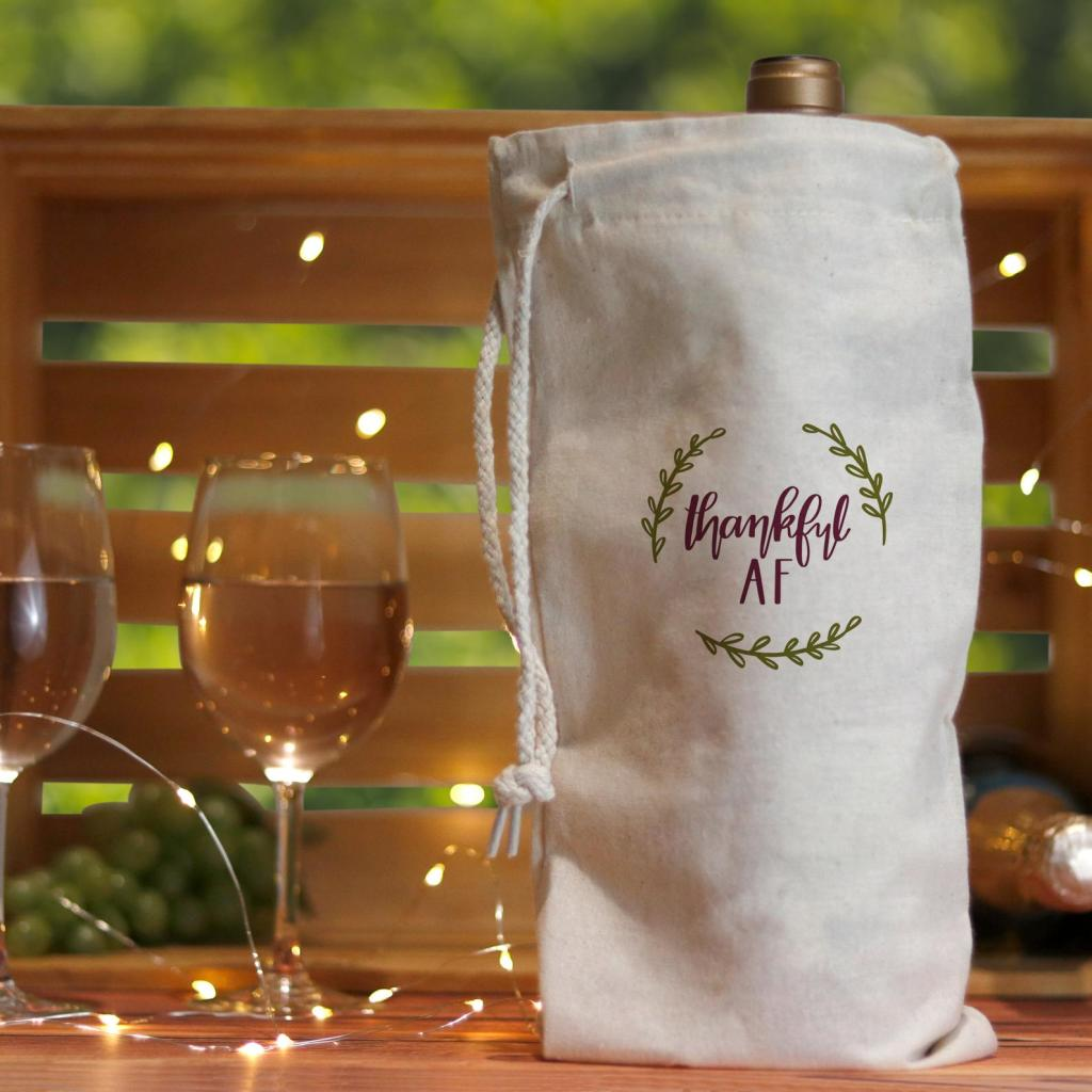 Friendsgiving Canvas Wine Bag, Thanksgiving Hostess Gift